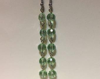 Green chain link earrings