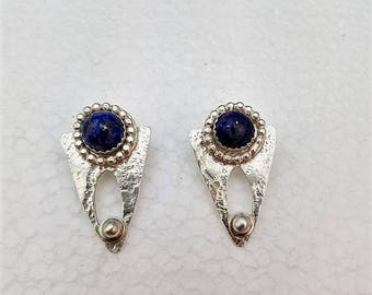 Handcrafted textured sterling silver post earrings with lapis lazuli in matrix cabochons