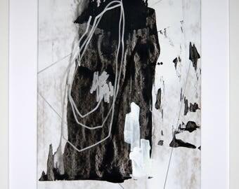 Original abstract illustration, no. 0658, mixed media on paper, 35x50cm. 2017