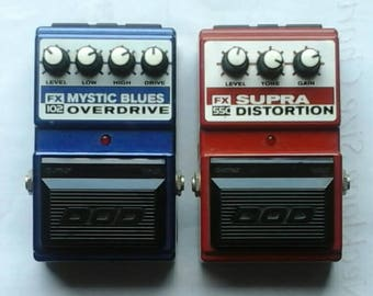 Vintage DOD Guitar Effects Pedals,Lot 2, FX102 Mystic Blues/FX55CSupra Distortion,WORKS!