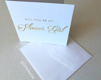 Will you be my... Flower Girl card in gold foil. Bridal party wedding card.