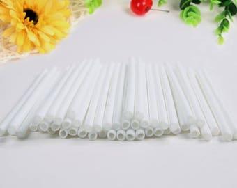 50 Pcs (5 in.) Plastic White Lollipop/Cake Pop Sticks