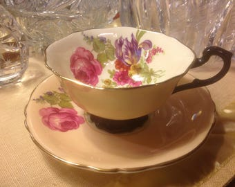 Vintage Paragon Tea Cup and Saucer Double Queen Warrant Peach with Black Handle  Floral Design