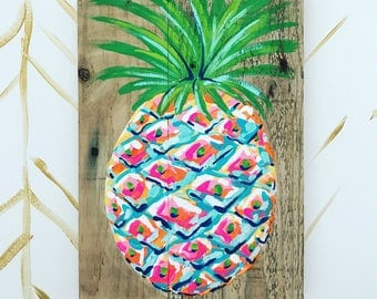 Colorful Artsy Pineapple Painting on Pallet Wood Great Gift