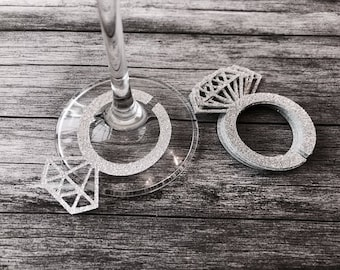 Diamond Ring Glass Charms or Tags x 12 Silver or Gold - Engagement party, Weddings Bride To Be, Bachelorette Party, Hen Party, Decorations