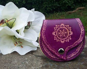 Purple and natural leather wallet