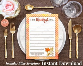 Thanksgiving Bible Printable INSTANT DOWNLOAD | Giving Thanks Christian Printable | Thankful For Cards | Scripture Printable Gratitude Cards