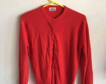 Vintage 70s women's red cardigan