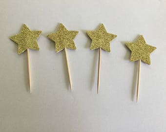 Gold glitter star cupcake toppers ( 1 3/8 in size )