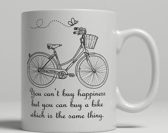 Cycling coffee mug, happiness mug, cycling gift idea cycling mug, cyclist coffee mug, retro cycling mug, retro bicycle mug, cycling