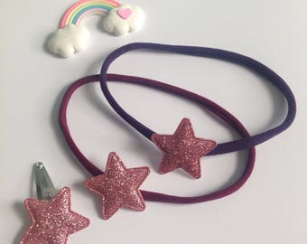 Set of Two Purple and Burgundy Sparkle Star Headbands and Two Hair Clips