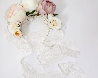 Peony and lace crown