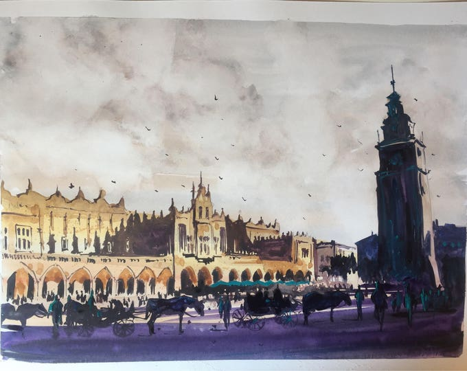 Krakow in the early evening in watercolour