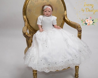 Elina Baby White or Ivory Christening Gown Baptism Dress with Gorgeous Lace sleeves full skirt Heirloom Gowns baby Bonnet  Baby headband