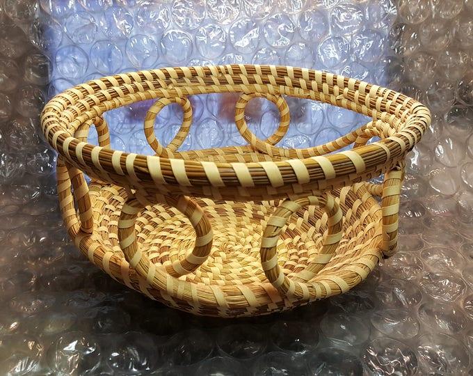 Vintage Charleston Sweet Grass Basket Fruit Bowl Open Work Center Piece Large