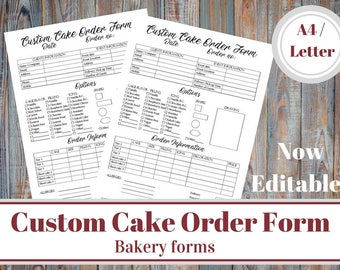 Custom Cake Order Form Bakery Forms Baking Business