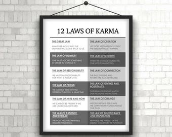 """12 Laws of Karma Poster 18"""" x 24"""""""