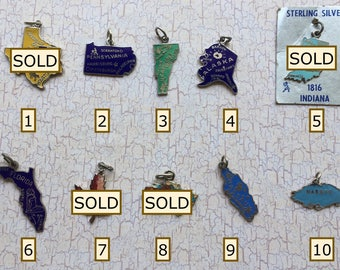 Lot 6 YOUR Choice of ONE Enameled Vintage 1950-60s Charm Pennsylvania, Vermont, Alaska, Florida, Nassau