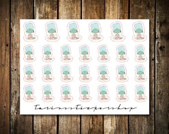 Spa - Cute Brunette Girl - Functional Character Stickers