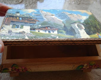 Vintage Handmade Wooden Jewelry Box/ Hand Painted Box/Antique style and decoration/ 1970/ Unique gift