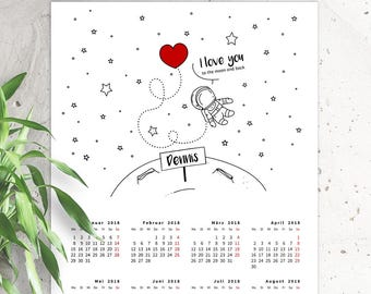 """Annual Calendar """"Love to the Moon and Back""""-White (personalized)"""