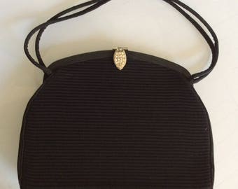 1950's vintage handbag - Black evening purse with Rhinestones - Chic classic handbag