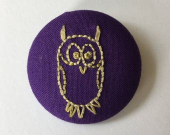 fabric-covered button pin - embroidered owl
