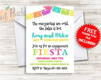 Fiesta Engagement Party Invitation 5x7 Personalized Couples Engagement Shower Invite Mexican Salsa Margaritas
