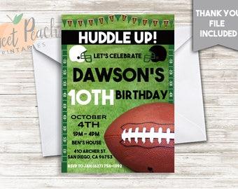 Football  Birthday Invite Invitation 5x7 Invite Boy's Sports Kids ANY AGE Digital Personalized Party Football Field Ball Yardlines #74.0