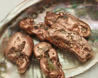 Copper Nuggets - for Luck and Good Energy - Tumbled Stone, Metal Energy, Wire Wrapping, Jewelry Supply, Talisman, Amulet