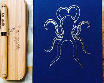 Bamboo Fountain Pen with Journal Hand-made, Octopus Theme