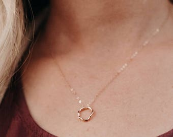 18k Rose Vermeil Gold Free Form Circle Necklace - Vermeil Gold - Pink Rose Gold - Minimalist Jewelry - Valentine's Gift - Gift for her