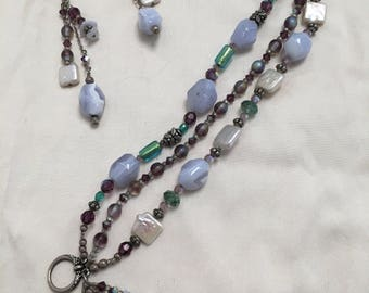 Fresh water square pearl bracelet and earrings