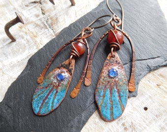 Rustic, tribal earrings, enameled copper, Carnelian, copper, rustic and chic, handmade.
