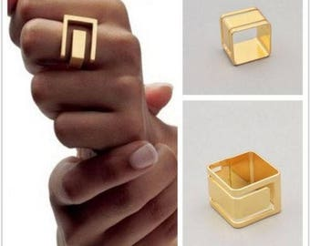 Women Ring Gold Plated Square Geometric Finger Ring Fashion woman jewelry