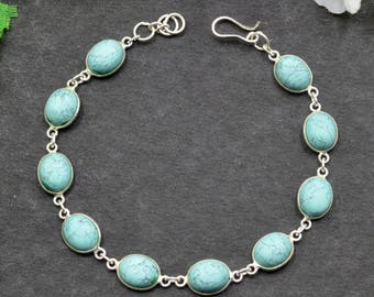Natural Turquoise Oval Gemstone Chain Bracelet 925 Sterling Silver B16