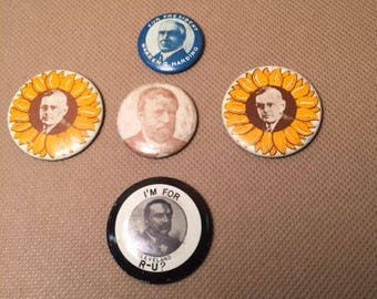 Reproduction set of five political buttons