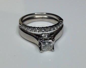Estate 14K White Gold 1.10 CTW Diamond Engagement Wedding Ring Band Set Size 7