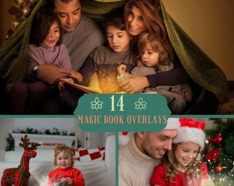 14 Magic Shine Book Overlays, Photoshop Overlays, Christmas Overlays, Fantasy Christmas Present PNG, Shine Sparkles , Magic Dust Effect