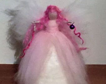 Chirstmas Tree Top Fairy, Needle Felt Fairy, Christmas Fairy, Waldorf Inspired Fairy, Pink Fairy