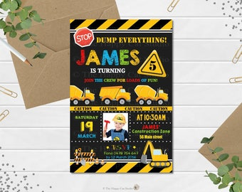 Construction Party,  Construction Birthday Invitation,  Construction Invitation, Personalized, Printable, Digital Print, Digger,  Dump Truck
