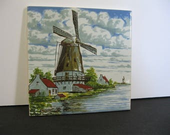 Vintage Hand Painted Windmill Tile Trivet, Ceramic Dutch Zuider Zee Souvenir Tile, Holland Tile