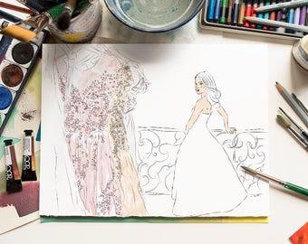 Custom bridal dress illustration Digital dress illustration Wedding illustration Wedding dress drawing Fashion illustration Haute couture