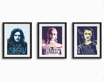 game of thrones set, game of thrones, quote poster, arya stark poster, khaleesi, jon snow, game of thrones poster-print-art-gift, tv poster