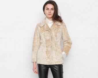 Vintage Beige Faux Fur Jacket Coat/ Size Small