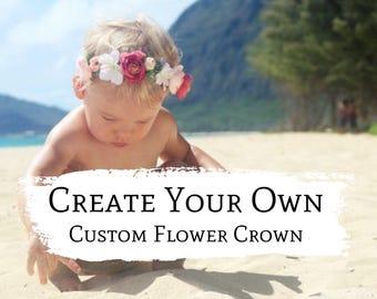 Custom Flower Crown, Flower Crown Baby, Hawaii Flower Crown, Baby Floral Crown, Flower Crown Wedding, Baby Photography Prop, Flower Halo