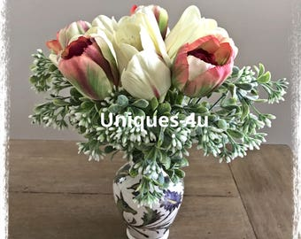 Real touch White & Pink Tulips
