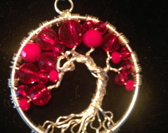 Valentina's Day.Tree of Life Necklace Pendant with Wire Silver Plated.Tarnish Resistant Silver.Swarovski crystals.Passion and love.