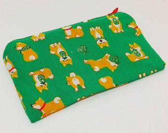 Shiba Inu Zipper Pouch - makeup bag; pencil case; cosmetic bag; gadget case; birthday; coin purse; cat bum; kitty butt; kitty bum; cat tush