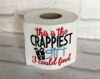 Funny birthday gift etsy embroidered toilet paper roll birthday day gag gift funny birthday gift embroidered loo negle Image collections